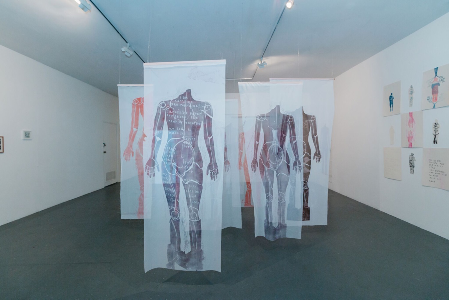 Figure 3: In Body, in time, lino print on fabric, Gallery 1, Trocadero Art Space, 2018. Image credit: Matto Lucas